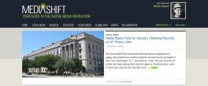 A screenshot of the PBS MediaShift homepage May 15, 2013, which features the author's story.