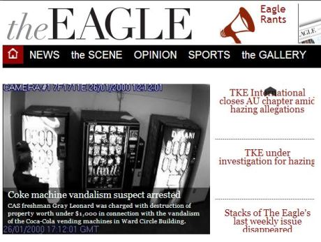 A screen capture of The Eagle's home page on May 18, which features the author's story.