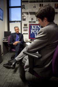 Photo by Diana Bowen / The Eagle Zach interviewing former presidential candidate, Utah governor, ambassador to China, Jon Huntsman
