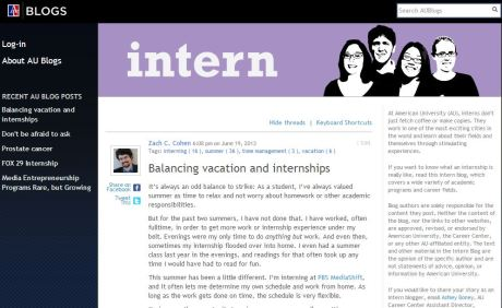 "Cohen's piece on the AU Career Center blog entitled ""Balancing vacation and internships"""