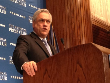 Chilean President Sebastián Piñera at the National Press Club in Washington, D.C. June 4. Photo by Zach C. Cohen.