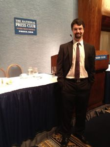 Zach Cohen at National Press Club in Washington, D.C. June 11, right after being honored as a Gridiron Fellow.