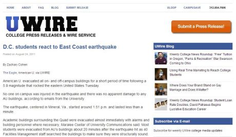 "Zach Cohen's syndicated story via UWire headlined ""D.C. students react to East Coast earthquake,"" originally published by The Eagle"