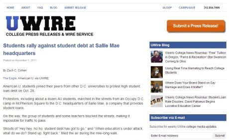 "Zach Cohen's syndicated story via UWire headlined ""Students rally againsdt student debt at Sallie Mae headquarters,"" originally published by The Eagle"