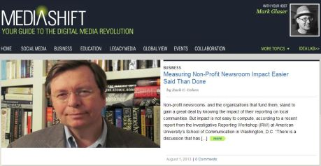 """Measuring Non-Profit Newsroom Impact Easier Said Than Done"" on the homepage of PBS MediaShift, 8.1.13"