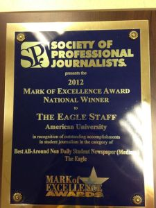 The Eagle's recognition as National Winner of the 2012 Mark of Excellence Award for Best All-Around Non-Daily Student Newspaper (Medium) from the Society of Professional Journalists