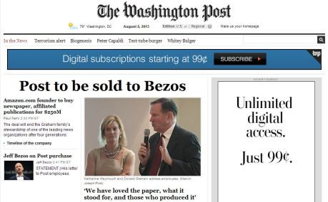 washingtonpost.com front page, Aug. 5, 2013