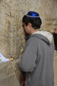 Zach Cohen at the Western Wall in Jerusalem, the holiest site in Judaism.
