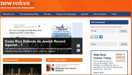 The home page of New Voices featuring the my blog post.