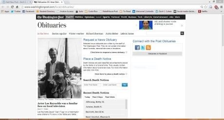 My first Washington Post story leading the Obituaries front.